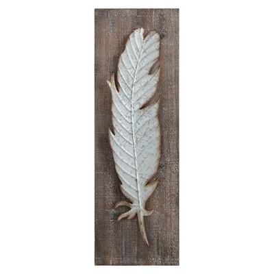 "9.75"" x 29.75"" Metal Feather Wood Wall Décor - 3R Studios"
