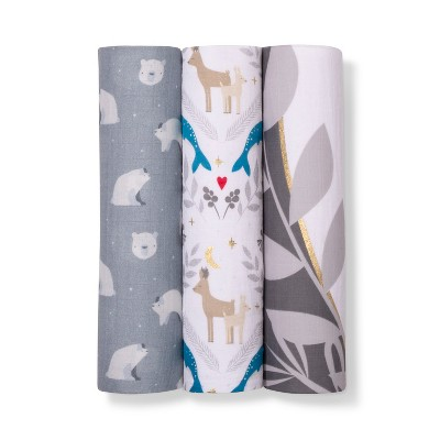 Muslin Swaddle Blanket Polar Bear 3pk - Cloud Island™