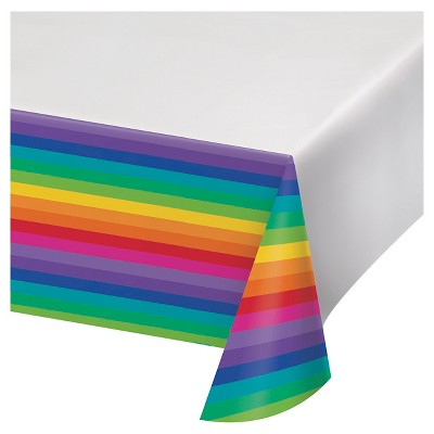 Rainbow Plastic Tablecloth