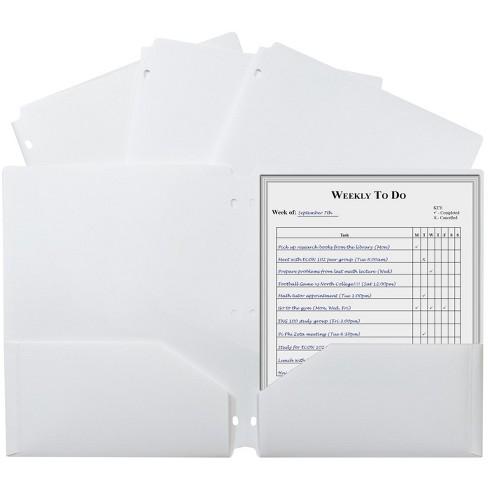 C-Line 3-Hole Punch Poly Folders, Letter, 2-Pocket, White, pk of 25 - image 1 of 1