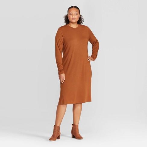Women\'s Plus Size Long Sleeve Crewneck Essential Knit Midi Dress -  Prologue™ Brown 1X