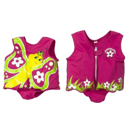 Poolmaster Toddler's Unisex Butterfly with Flowers Foam Swim Vest - Pink - L - image 1 of 2