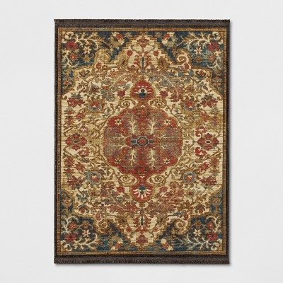 7'X10' Floral Woven Area Rug Beige - Threshold™