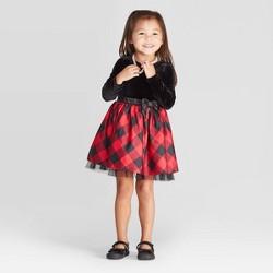 Toddler Girls' Long Sleeve Velour Plaid Dress - Cat & Jack™ Black/Red