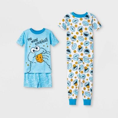 Toddler Boys' 4pc Sesame Street Cookie Monster Pajama Set - Blue