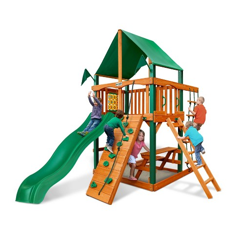 Gorilla Playsets Chateau Tower with Timber Shield and Deluxe Green Vinyl Canopy - image 1 of 3