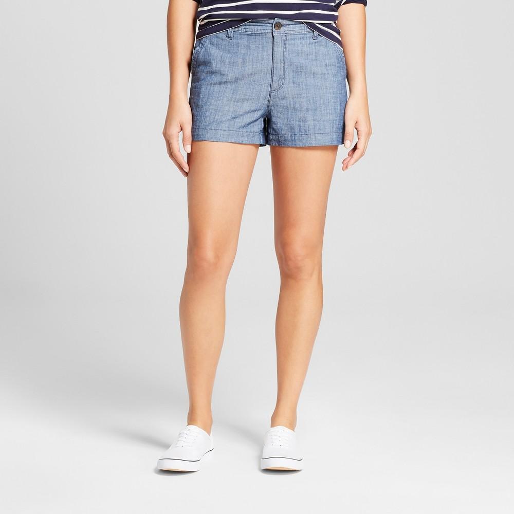 Women's 3 Chino Shorts - A New Day Chambray 2, Blue