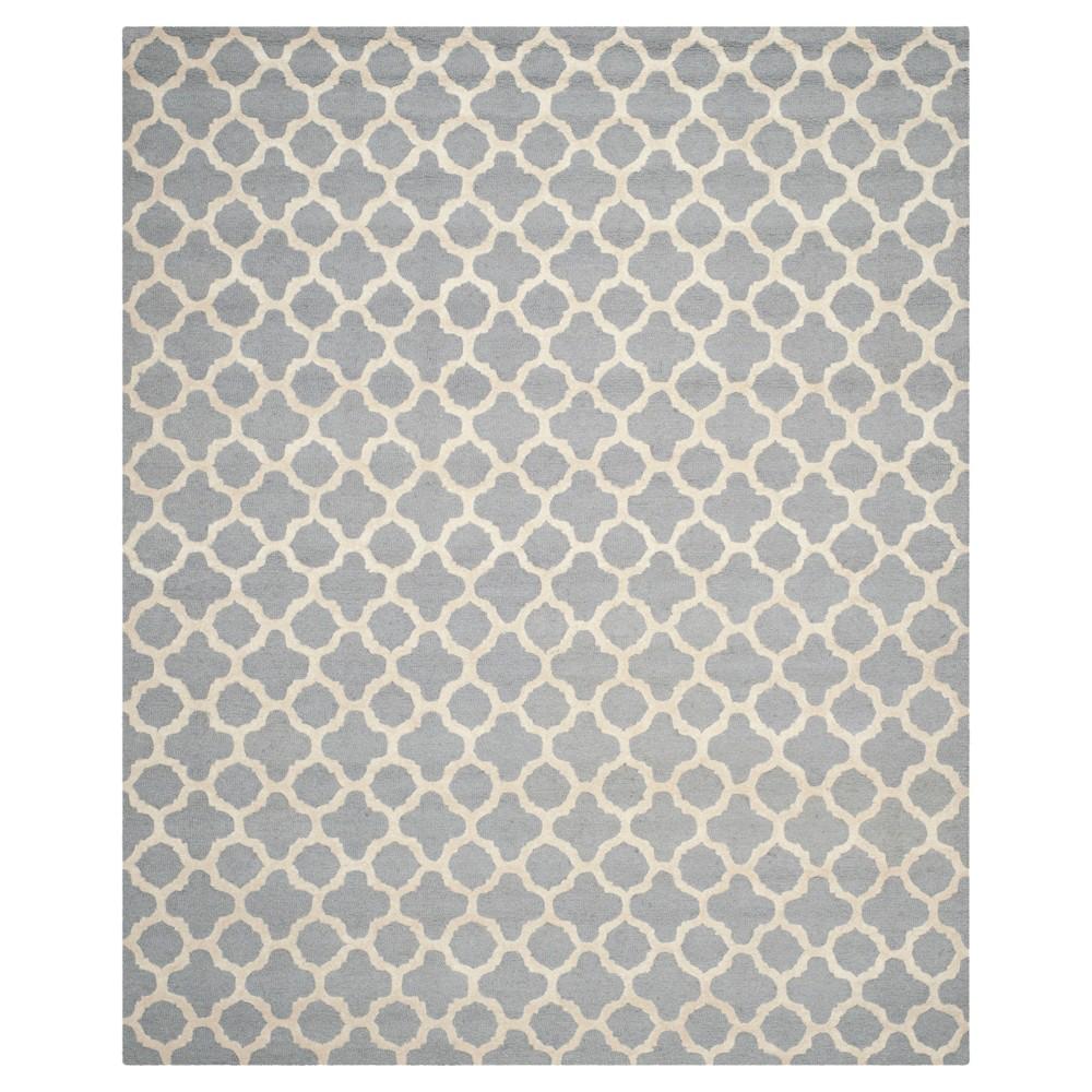 Geometric Area Rug Silver