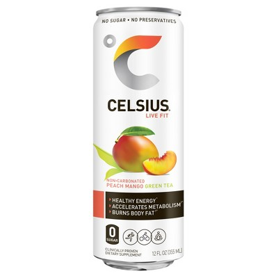 Celsius Green Tea Peach Mango Energy Drink   12 Fl Oz Can by Celsius
