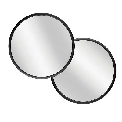 Infinity Instruments 20083BK Nera 22 Inch Round Indoor Hanging Wall Mounted Decorative Mirror with Black Matte Frame (2 Pack)