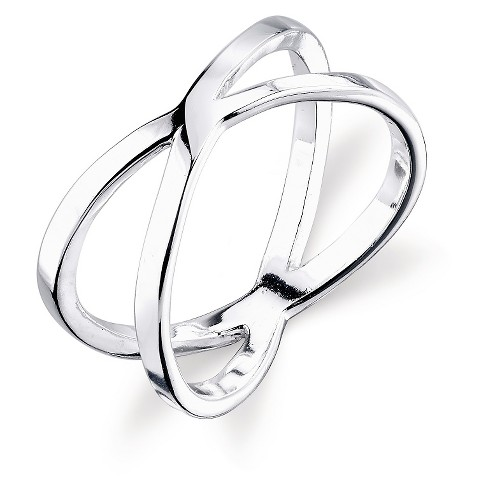Women's Sterling Silver Polish Criss Cross Ring - Silver - image 1 of 1