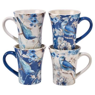 Certified International® Indigold Lisa Audit Ceramic Mugs 15oz Blue - Set of 4