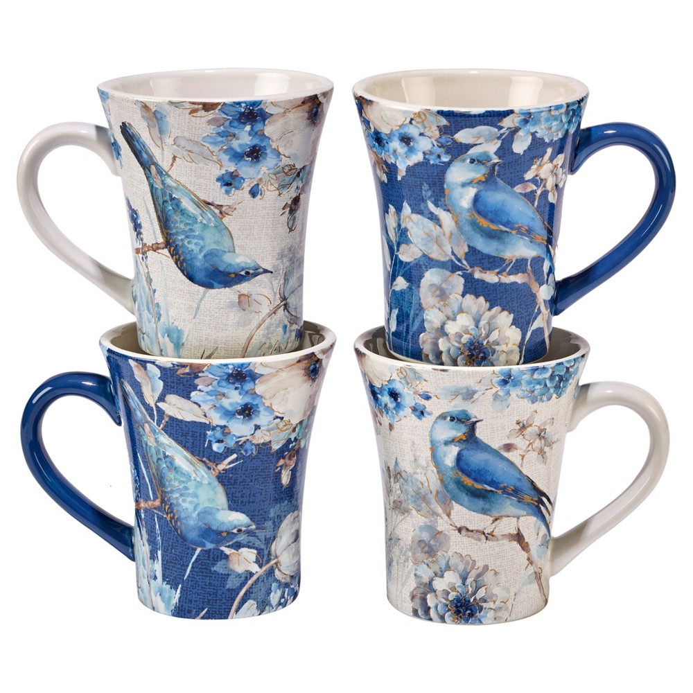 Image of Certified International Indigold Lisa Audit Ceramic Mugs 15oz Blue - Set of 4, White Brown Blue