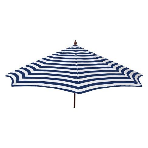 Parasol Euro 9 Patio Umbrella Acrylic Stripes Blue And White Target