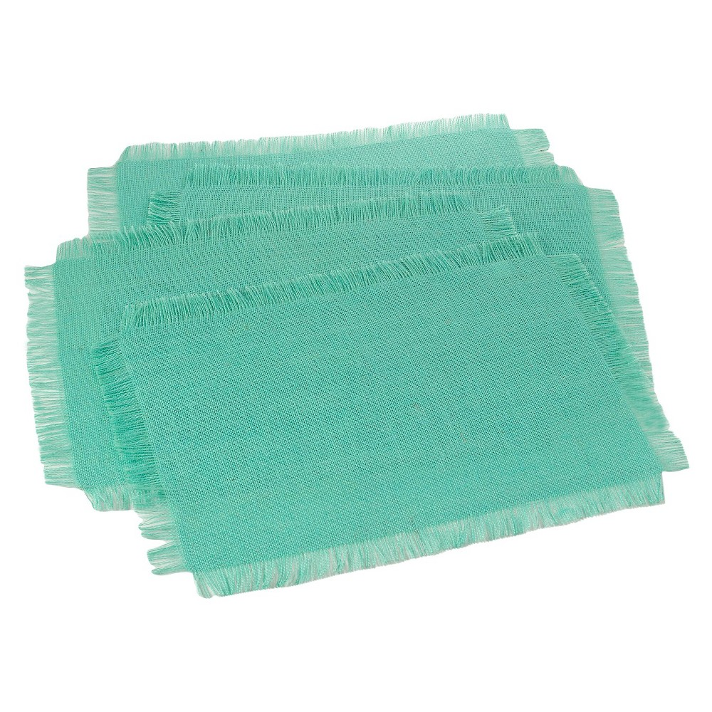 Fringed Jute Placemats Sea Green Set Of 4
