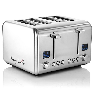 MegaChef 4 Slice Stainless Steel Toaster - Silver