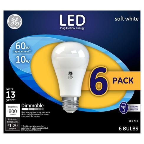 General Electric 6 pk 60W A19 LED Light Bulb White - image 1 of 2