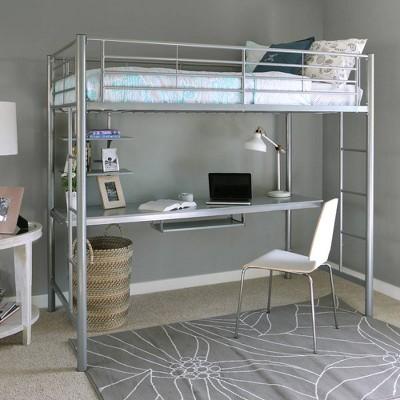 Twin Premium Metal Loft Bed with Wood Workstation - Saracina Home