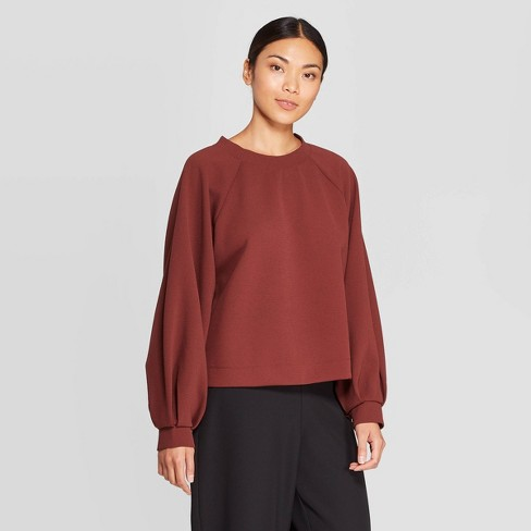 Women's Puff Long Sleeve Crewneck Sweatshirt - Prologue™ Red - image 1 of 3