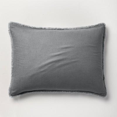 Standard Heavyweight Linen Blend Pillow Sham Dark Gray - Casaluna™