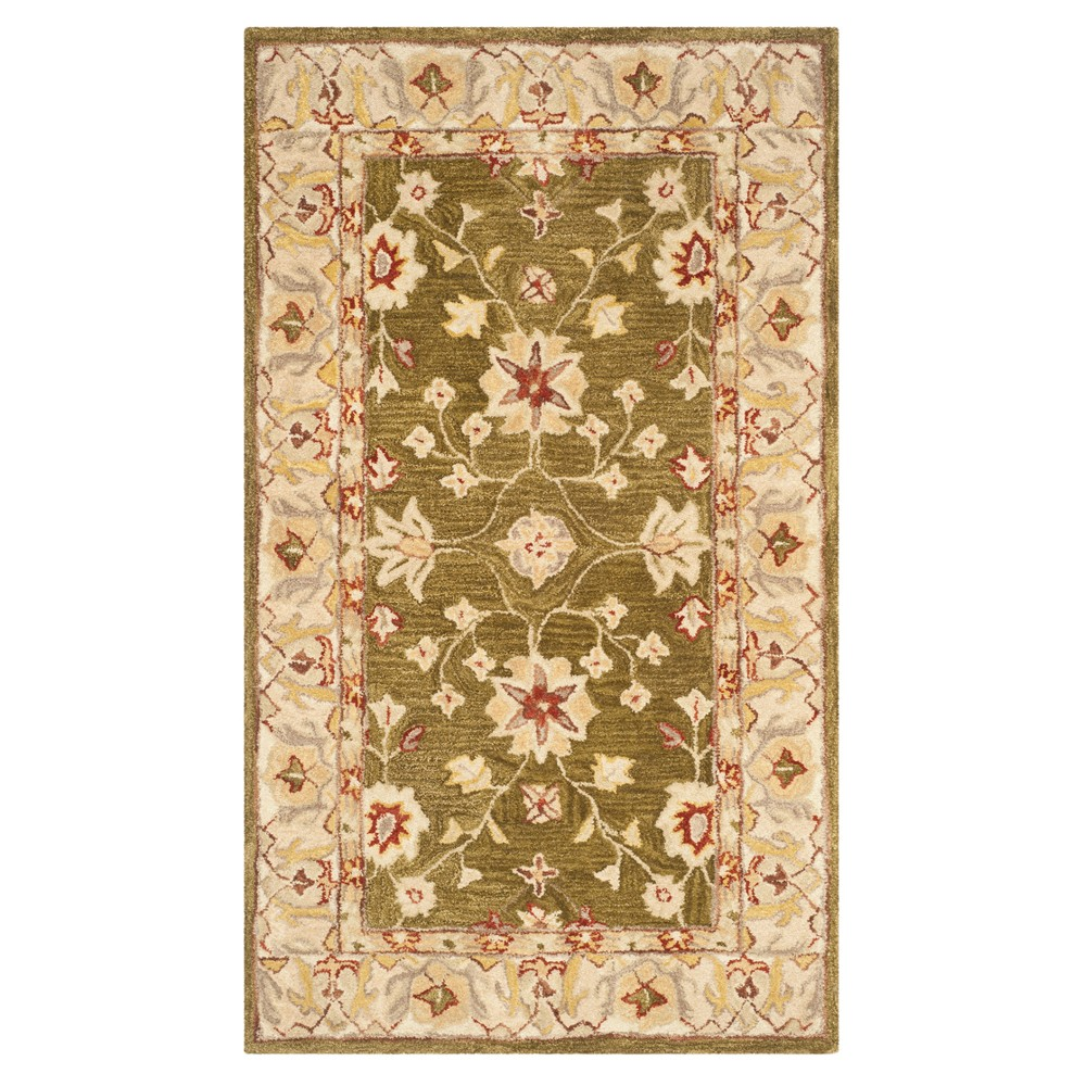 Moss Ivory Floral Tufted Accent Rug 4 X6 Safavieh