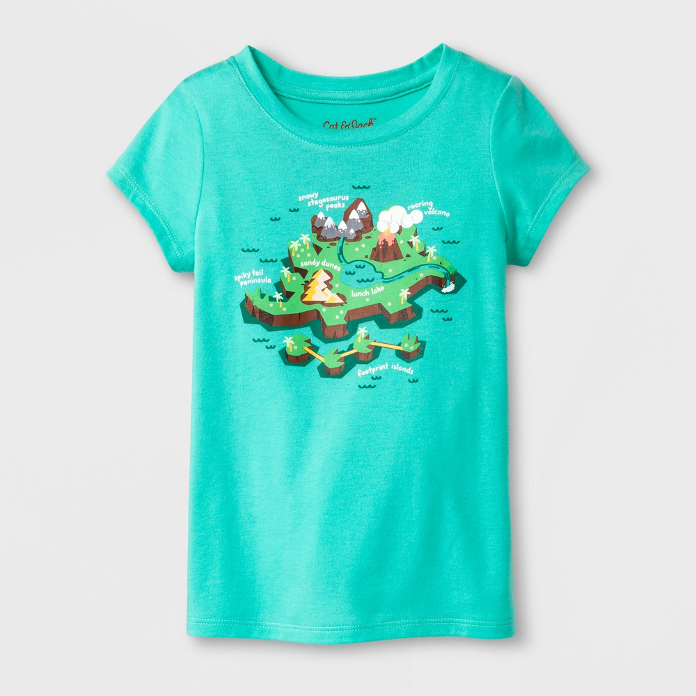 Toddler Girls' Dino Island Cap Sleeve T-Shirt - Cat & Jack Mint Green 12M