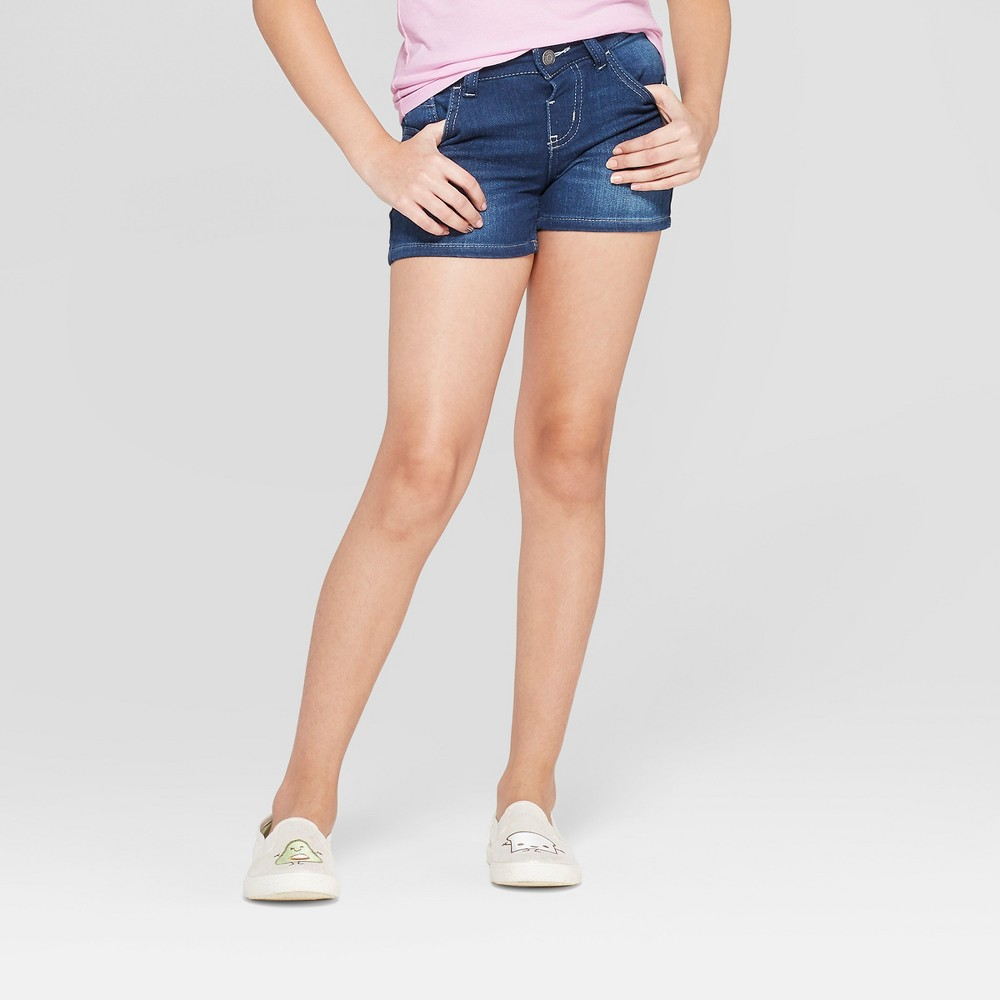 Plus Size Girls' Jean Shorts - Cat & Jack Dark Wash L Plus, Blue