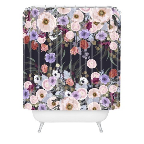 Iveta Abolina Afrodille Shower Curtain Purple/Floral - Deny Designs - image 1 of 2