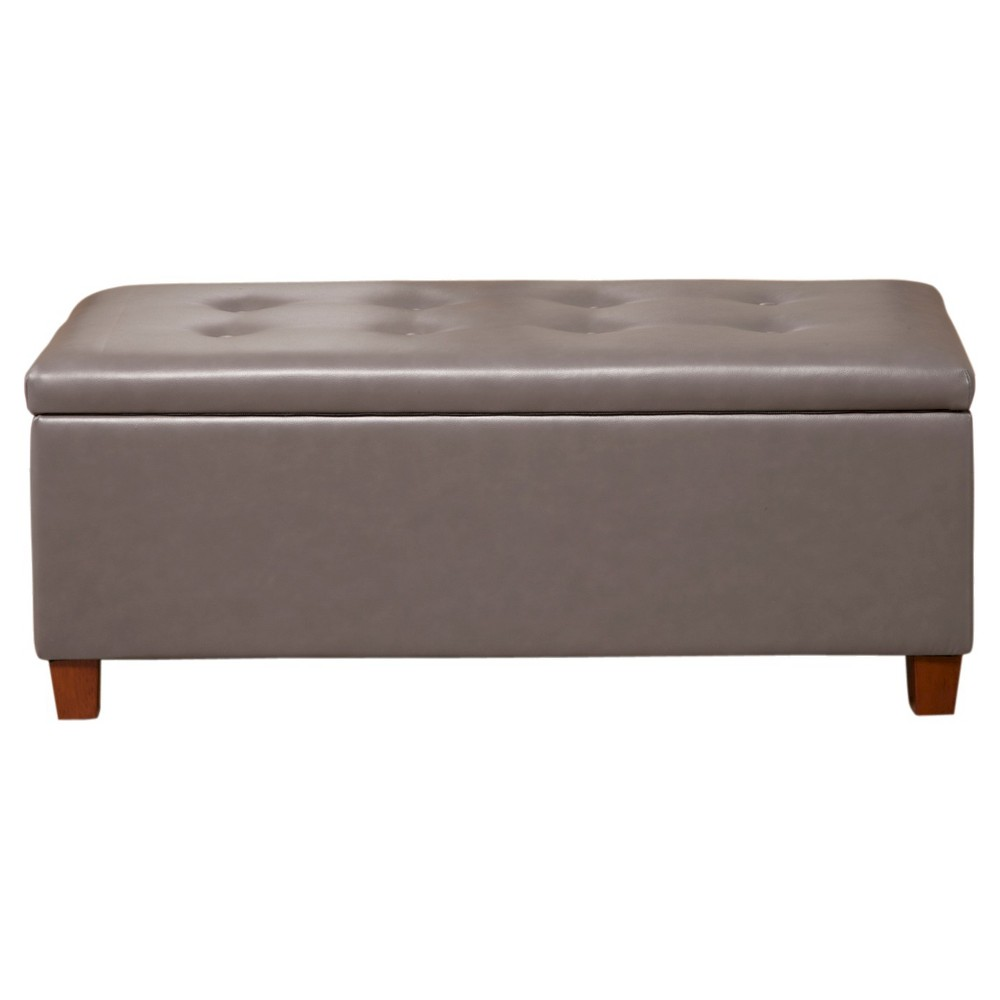 Homepop Large Faux Leather Storage Bench - Charcoal (Grey)