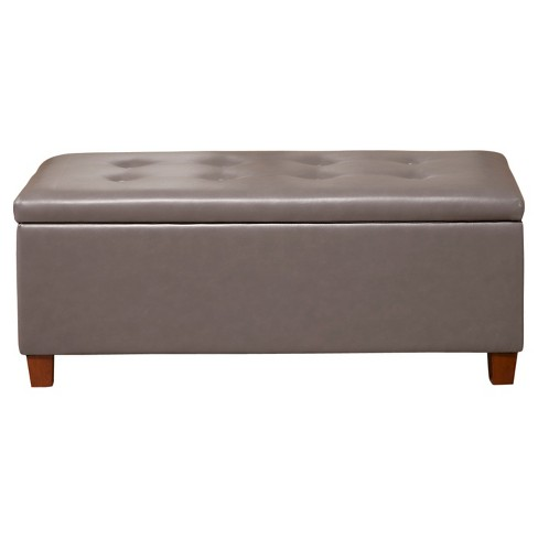 Homepop Large Faux Leather Storage Bench