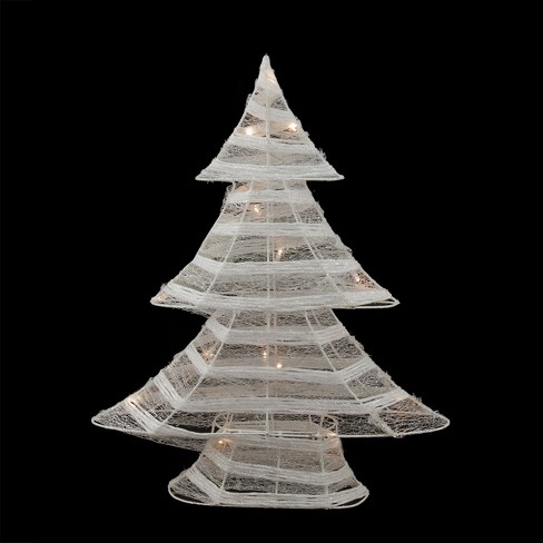 Lighted Christmas Tree.Northlight 18 5 Battery Operated White And Silver Glittered Led Lighted Christmas Tree Table Top Decoration