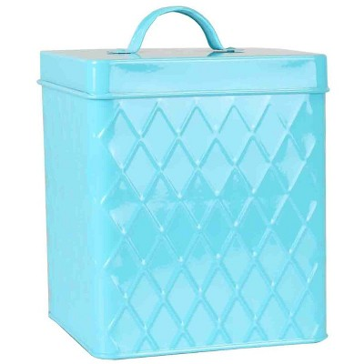 Home Basics Trellis Collection Small Tin Canister, Turquoise