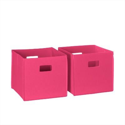 2pc Folding Toy Storage Bin Set Hot Pink - RiverRidge