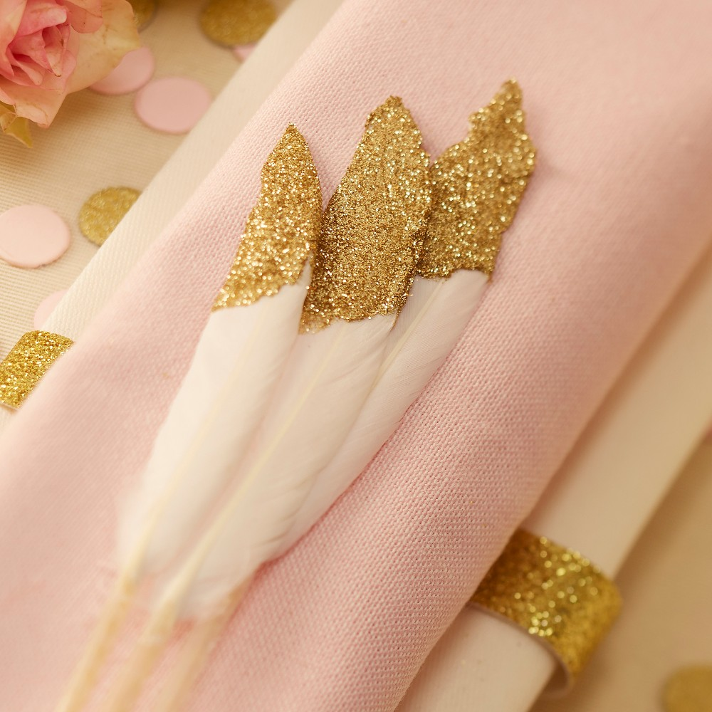 Image of 10ct Feathers Pastel Perfection Gold Glitter