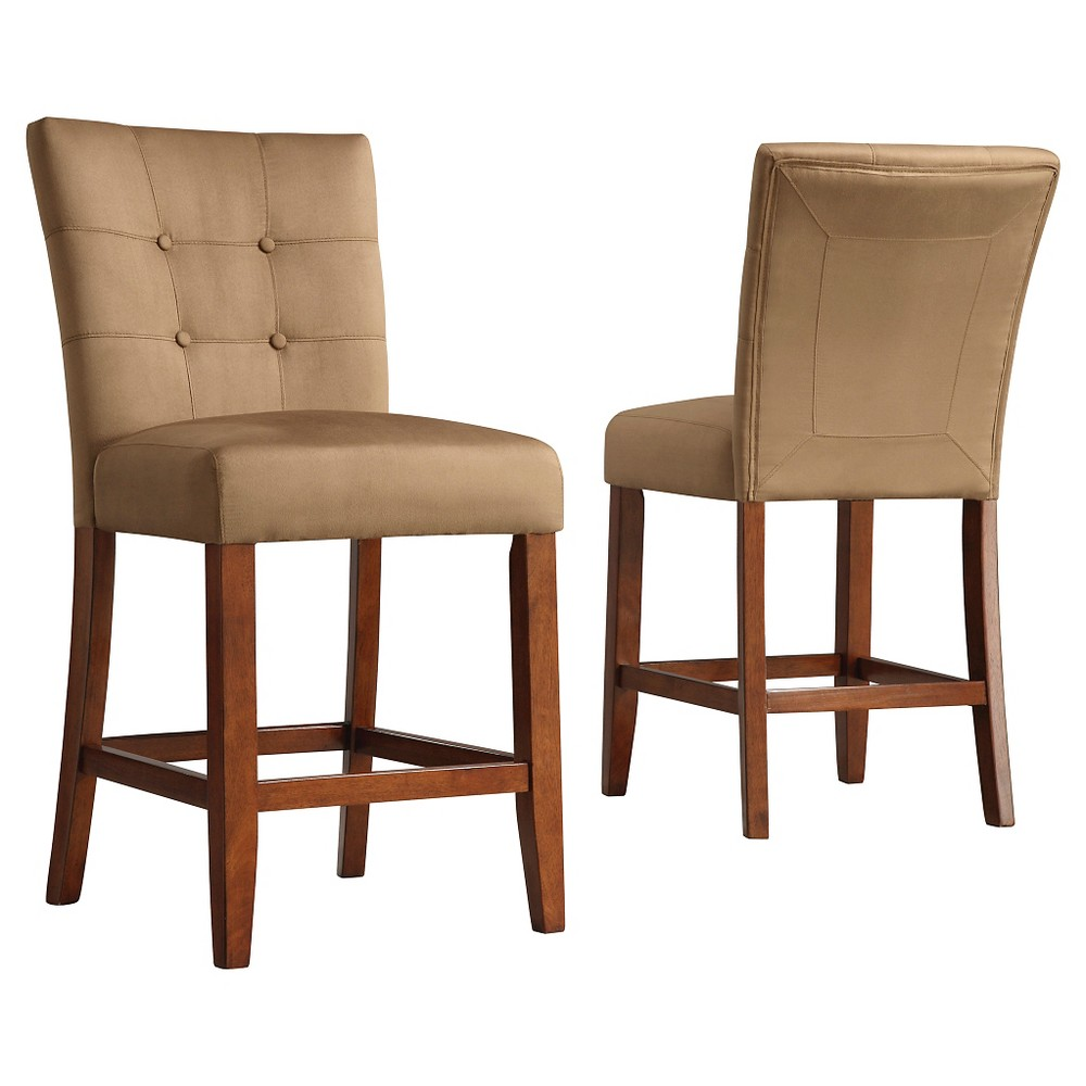Set Of 2 24 34 Alexandra Button Tufted Counter Height Barstool Peat Inspire Q