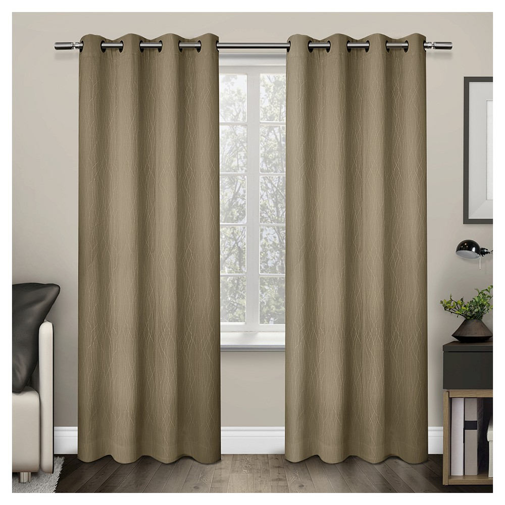 Crete Textured Jacquard Thermal Window Curtain Grommet Top Panel Pair Camel (54