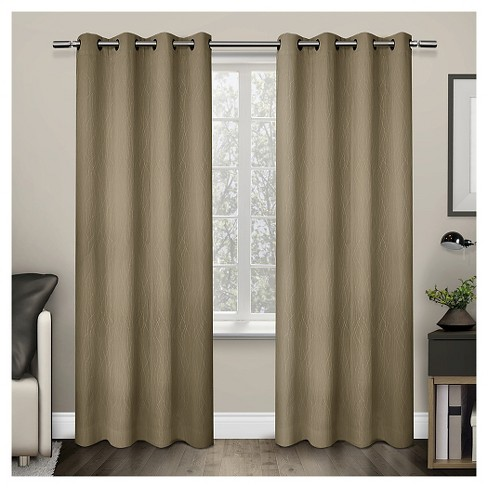 Crete Textured Jacquard Thermal Window Curtain Grommet Top Panel Pair - Exclusive Home™ - image 1 of 3