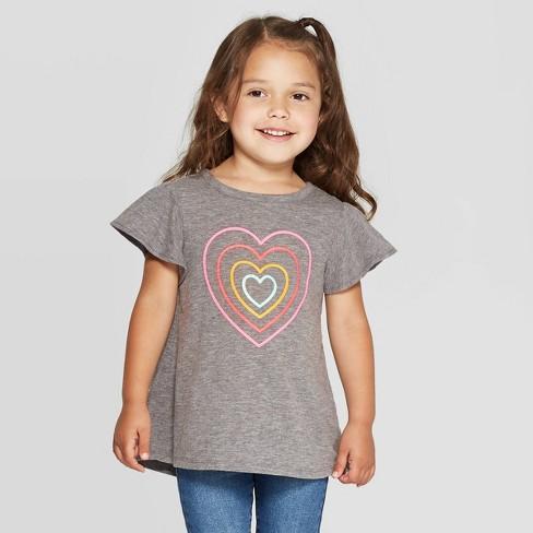 Toddler Girls' Short Sleeve Heart Cozy Top - Cat & Jack™ Gray - image 1 of 3