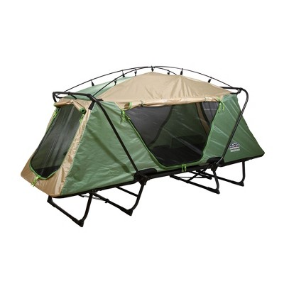 Kamp-Rite Oversize Portable Durable Cot, Versatile Design Converts into Cot, Chair, or Tent w/ Easy Setup, Waterproof Rainfly & Carry Bag, Green/Tan