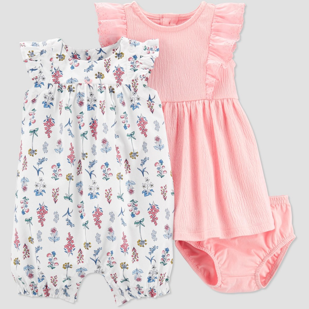 Baby Girls' 2pc Floral Romper and Dress Set - Just One You made by carter's Pink/White 12M