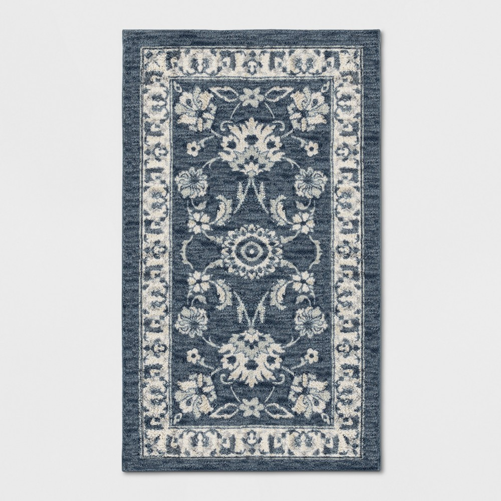 Floral Tufted Accent Rug Blue