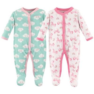 Luvable Friends Baby Girl Cotton Snap Sleep and Play 2pk, Unicorns