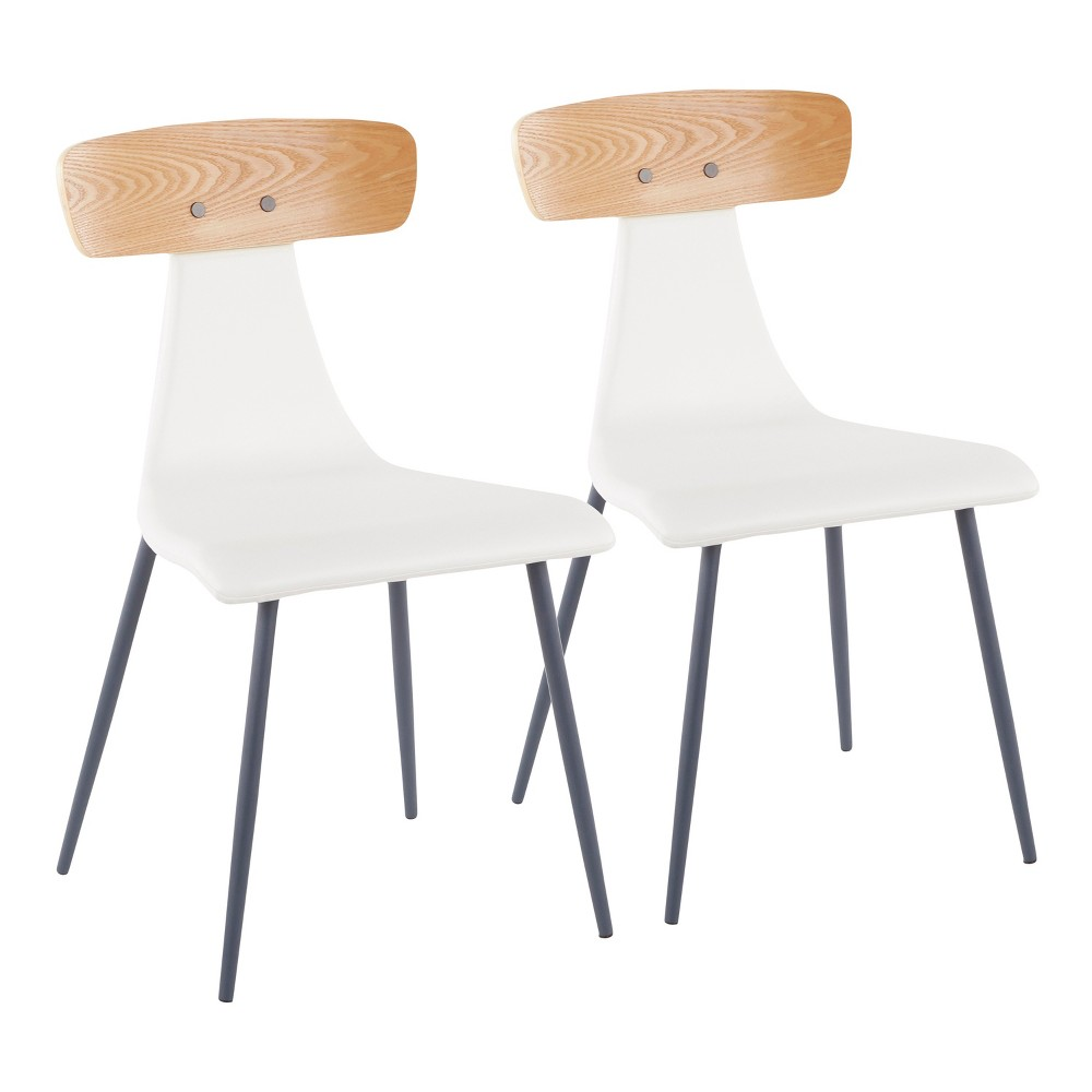 Set of 2 Elio Contemporary Chairs Gray/White - LumiSource