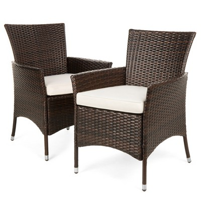 Best Choice Products Set of 2 Modern Contemporary Wicker Patio Furniture Dining Chairs w/ Water-Resistant Cushions