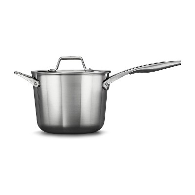 Calphalon Premier 4.5 Quart Stainless Steel Metal Dishwasher Safe Saucepan Kitchen Cookware with Lid and Stay Cool Handle, Silver
