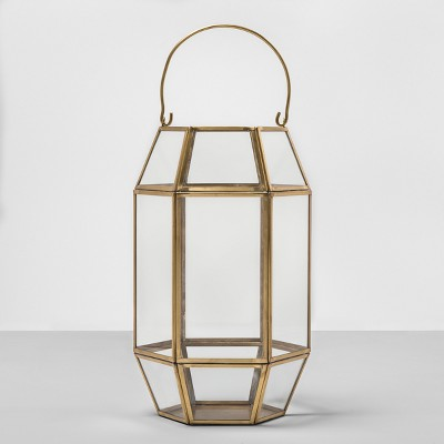 13  Outdoor Lantern Hexagon Glass with Gold Frame - Opalhouse™