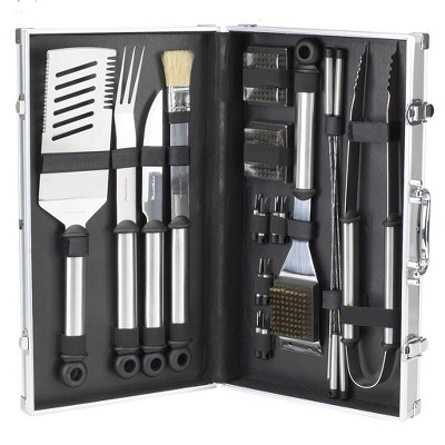 Picnic at Ascot 20 Piece Stainless Steel BBQ Barbecue Grill Tool Set with Aluminum Case