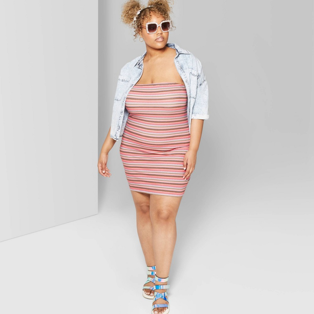 Women's Plus Size Striped Strapless Knit Tube Dress - Wild Fable White 3X, Pink