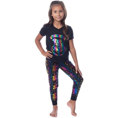 Harry Potter Girls' Rainbow Foil Hogwarts Crest Pajama Jogger Set