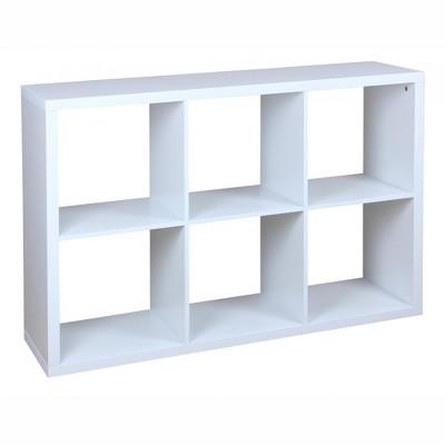 Home Basics 6 Open Cube Organizing Wood Storage Shelf